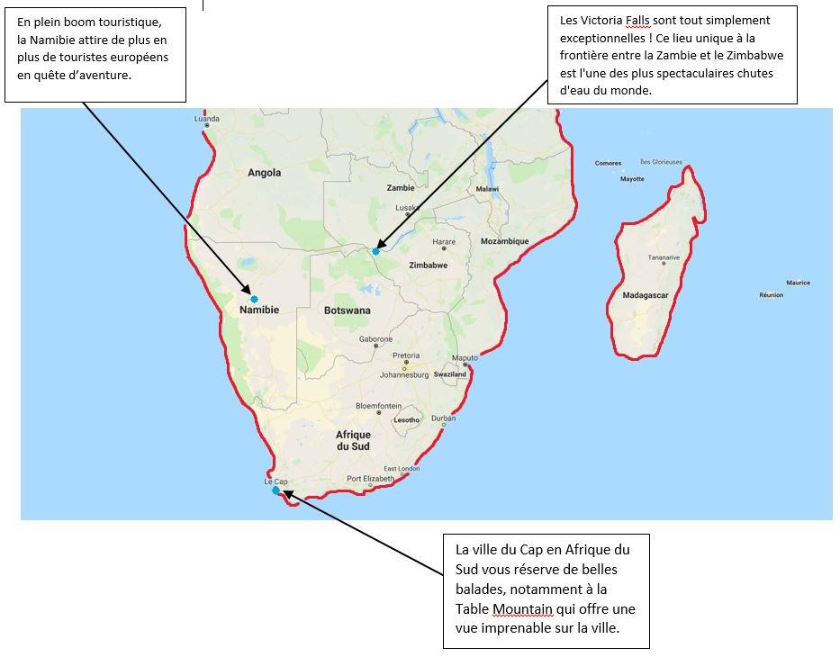 Carte géographique de l'Afrique australe