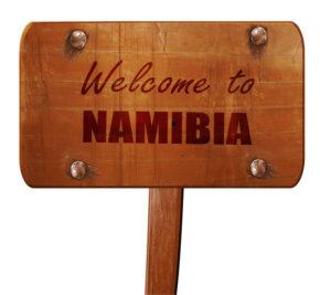 Panneau Bienvenue en Namibie pour un voyage en Afrique australe